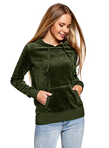 oodji Ultra Mujer Sudadera Básica con Bolsillo, Verde, ES 38 / S