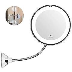 Idea Regalo - H-Piano 10X Ingranditore LED Specchio Trucco, Rotazione di 360 Gradi con Collo di Cigno Regolabile, Specchio Bagno con aspirazione, Cordless Portatile Specchio da Parete