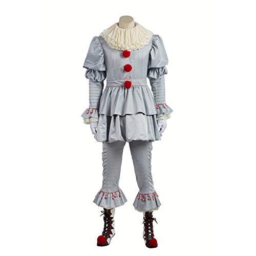 QWEASZER Terror Clown Circus Cosplay Kostüm Herren Lätzchen, Handschuhe, Tops, Hosen, Schuhe, Halloween Cosplay Kostüm Requisiten Deluxe Edition,Clown-Custom Size (Custom Clown Kostüm)