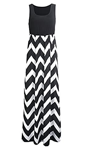 Flying Rabbit Damen Rundhals Sleeveless Striped Kleid Womens Elegant Sommer Partykleid (XL, Schwarz)