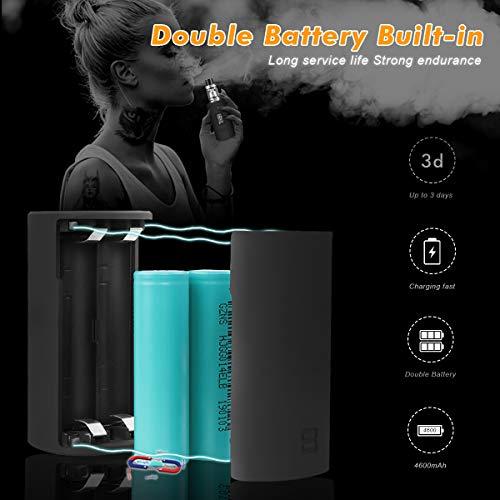 E Zigarette/E Shisha Starter Set 200W Box Mod Kit, Vape Mod Box E-Zigarette Kit mit 5000mah Akku + 2,0 ml Top Refill Verdampfer + 0,2 Ohm Verdampfer Köpfe, 0,0mg Nikotin (schwarz)