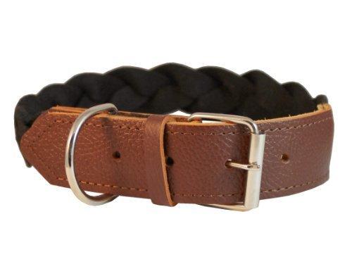Hochwertige Baumwolle Web Combo Leder geflochten Halsband 3,8cm breit. Passt 55,9cm-66cm Hals, Cane Corso, deutsche Dogge -