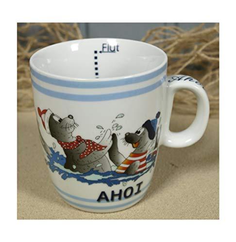 Maritim Porzellan Becher mit Seehund AHOI Ebbe+Flut Inhalt 200ml Kaffeebecher Tasse Motiv (1221)