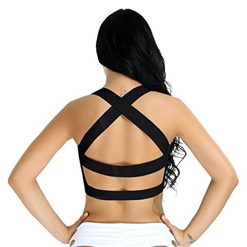 YiZYiF Damen Strap Vest Gepolsterter Push Up Sport BH Bustier Stretch Sports Bra Yoga Fitness Training Top Strand Tank W2 Schwarz
