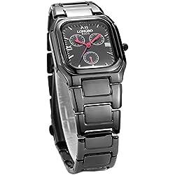 LONGBO popular square watch men business waterproof quartz watch black steel watch 8305