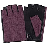 Lyq&st Half Finger Gloves Hand-embroidered Simple Color Matching Letter Leather Gloves Breathable Windproof Ski Gloves, Outdoor Warm Riding Gloves