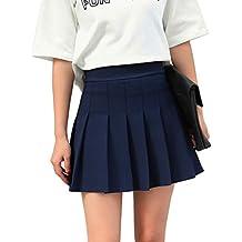 Hoerev Mujeres Corto Cintura Plisada Falda de la Escuela de Tenis Skater 4b04170d8f55