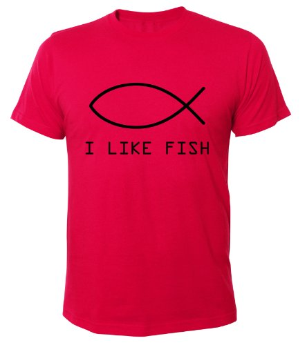 Mister Merchandise Cooles Fun T-Shirt I like fish Pink
