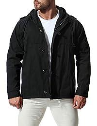 5753fe7f224a Trench-Coat Hommes Longue Veste d hiver Manteau de Coton Militaire à Capuche