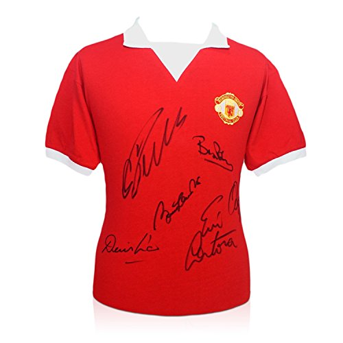 Manchester United Shirt Signed By Cristiano Ronaldo, Bobby Charlton, Eric Cantona, Denis Law, Bryan Robson and Ryan Giggs