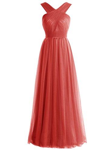 Bbonlinedress Robe de soirée et de demoiselle d'honneur A-line plissée col V sans manches et strass longueur ras du sol en tulle Rouge