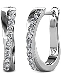 YOURDORA Ladies Silver Hoop Earrings with White SWAROVSKI Crystals Small Creole Earrings for Women Girls 15mm, Gift Box