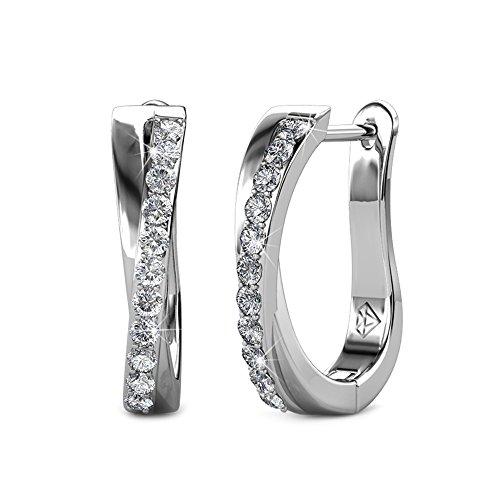 Yourdora donna oro bianco 18ct placcato swarovski cristallo orecchini medi cerchio 15mm gioielli di moda