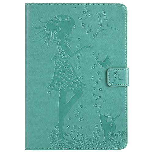 Bestcatgift iPad Mini PU Leather Wallet Hülles,[Embossed Women and Cats][Wake/Sleep Function][Touch Pen Cover] iPad Mini Smart Cover Wallet Hülle Für iPad Mini 1 2 3 - Green - Womens Green Check