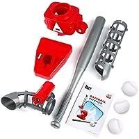 Pgige Máquina automática de Lanzamiento de béisbol, Lanzamiento Máquina de Servir Versión de batería Pies portátiles Ejercicio QCM033-1Red y Gris