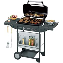 Campingaz Barbecue Gas Texas Revolution, BBQ Gas per Pietre Laviche, Grill Barbecue a Gas Compatto con 2 Bruciatore, Potenza 8.2 kW, Griglie in Ghisa, 2 Tavoli a Lato e Carrello in Acciaio