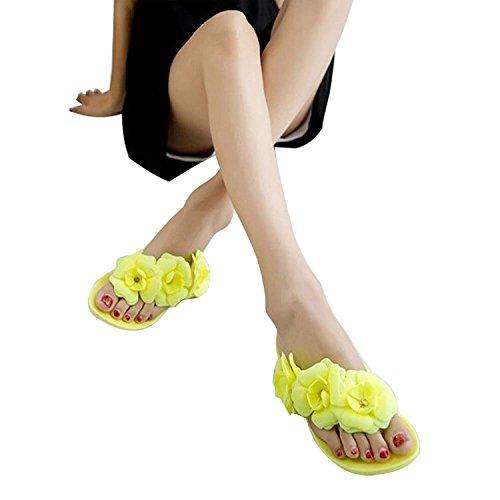 Minetom Camellia Tongs Femme Plage Eté Chaussure Flip Flops Bout Ouvert Sandales Chaussons EUROPE Taille Jaune