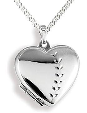 Anhänger Medaillon Herz 925 Silber Herzform zum öffnen / Bildeinlage mit Panzerkette