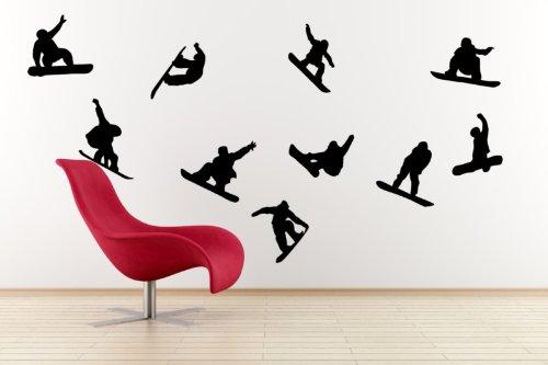 A11–concetto–Sport Invernali Snowboard, Set di 10adesivi da parete, rimovibile, facile da rimuovere, adesivi da parete per bambini,, arte murale, decorazione adesiva Deco, Black, large