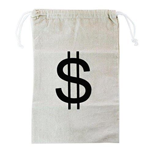 Damen Pirat Kostüm Für Schatzsuche Erwachsene - Dollarzeichen Aufbewahrungstasche 27 * 43cm 70g Große Segeltuch-Geldbeutel-Tasche mit Drawstring-Schließung und Dollar-Zeichen-Entwurf Leinwand-natürliche Geld-Tasche Aufbewahrungstasche HKFV
