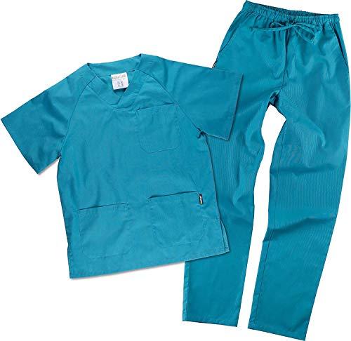 Work Team Uniforme Sanitario, con elástico y cordón en la Cintura, Casaca y Pantalon Unisex Turquesa S