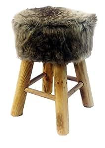 Tabouret rond Petit Loup Gris en Fausse Fourrure avec pieds en pin