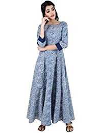 ANAYNA Women's Cotton Printed Anarkali Kalidar Long Dress( Blue)