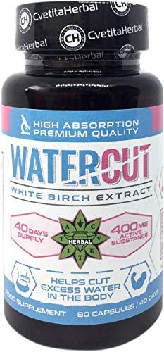 Cvetita Herbal Betulla Bianca estratto White Birch, Riduzione della ritenzione idrica, integratore alimentare per drenaggio di fluidi corporei, tratto urinario sano (80 capules)