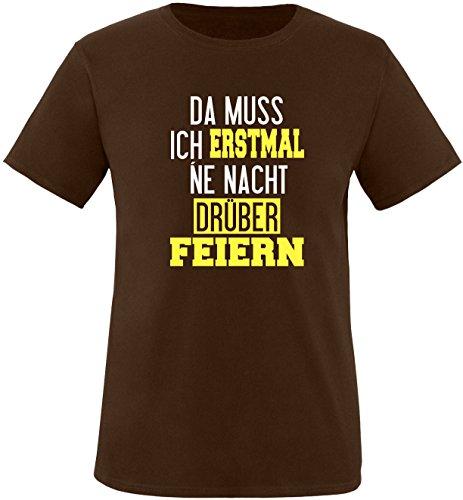 Luckja Da muss ich erstmal ne Nacht drüber Feiern Herren Rundhals T-Shirt Braun/Weiss/Gelb