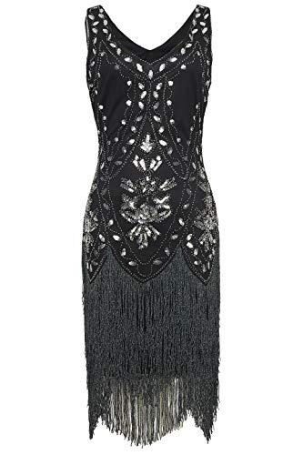 Coucoland 1920s Kleid Damen Flapper Kleid ohne Ärmel V Ausschnitt Knielang Charleston Kleid Gatsby Motto Party Damen Fasching Kostüm Kleid (Schwarz Silber, S (Fits 70-76 cm ()