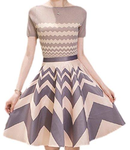 erdbeerloft - Damen 2-teiliges Kleid, Tulpenrock und Kurzarm Shirt, 36, Mehrfarbig (Denim-kleid 2-teiliges)