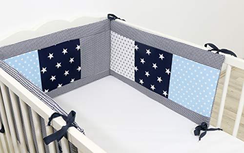 ULLENBOOM ® Nestchen Blau Hellblau Grau (Baby Bettnestchen, Bettumrandung für 120×60 cm / 140×170 cm Babybetten)