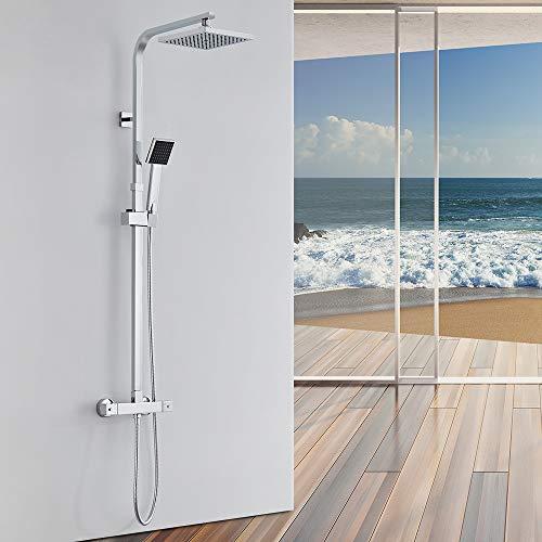Auralum Thermostat Duschset Brausethermostat Duschsystem Duscharmatur Kupfer mit Handbrause und Regendusche