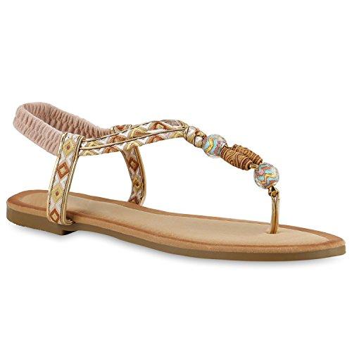Damen Zehentrenner Metallic Sandalen Leder-Optik Flats Dianetten Ethno Party Abiball Schuhe 136830 Creme Verzierung 38 Flandell