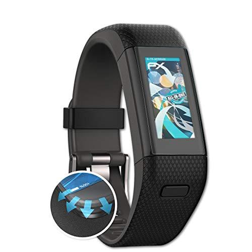atFoliX Schutzfolie passend für Garmin Vivosmart HR+ Folie, ultraklare & Flexible FX Bildschirmschutzfolie (3X)