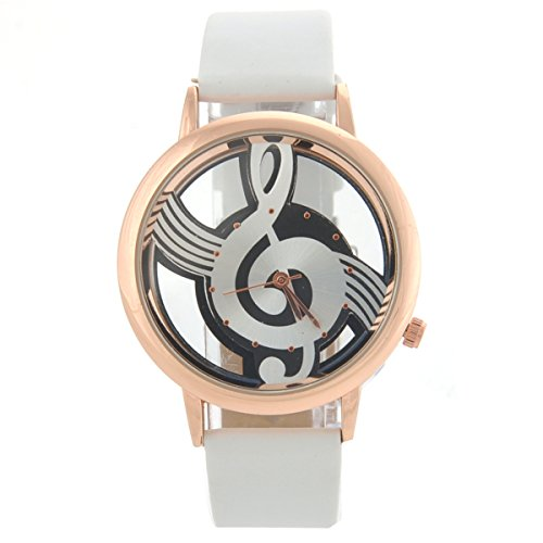 NICERIO M388 Fashion Women's Ladies Hollow Musical Note Style Dial PU Band Quartz Wrist Watch (White)