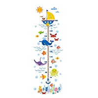 Home Wall Stickers,Marine Animal Wall Stickers DIY Kids Growth Height Measuring Chart Shark Fish Growth Measurement Cartoon Children Wall Decals Home Decoration