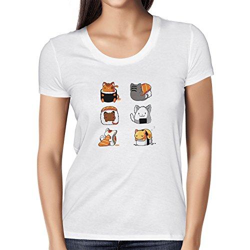 NERDO - Cat Sushi - Damen T-Shirt, Größe L, weiß