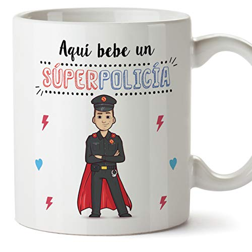 MUGFFINS Policía Tazas Originales de café y Desayuno para Regalar a Trabajadores Profesionales - AQUÍ Bebe UN SÚPER POLICÍA - Cerámica 350 ml
