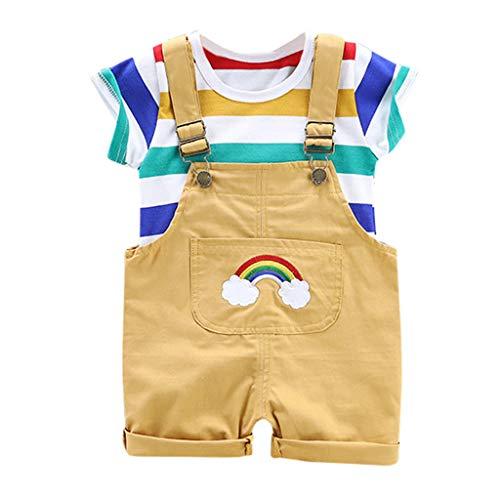 TTLOVE Kleinkind Boy Kinder Regenbogen Streifen Tops T-Shirt Riemen Kurze Outfits Set,Baby Jungen Bekleidungssets Baby Kleikind FüR Sommer Festliche Taufe Hochzeit(Gelb,80) -