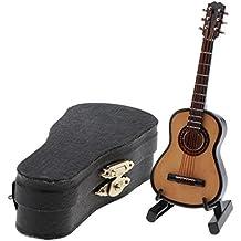 MagiDeal 1:12 Guitarra de Madera Instrumento de Música con Caja de Almacenaje en Miniatura Accesorios de Dollhouse