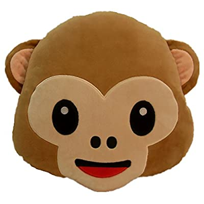 LI&HI 32cm Emoji Smiley Emoticon Round Cushion Pillow Stuffed Plush Soft Toy(Monkey)