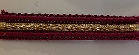 UK MADE BURGUNDY & GOLD LUREX RIBBED (10MM) BRAID (SOLD PER METRE) FOR UPHOLSTERY/LAMPSHADES/ARTS & CRAFTS by UK DESIGNER TRIMMINGS