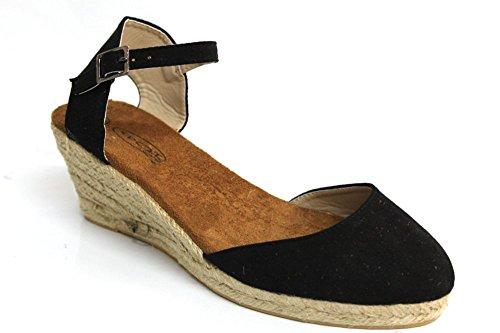 Femme Casual Espadrille d'été à talon Wedge pompes Sandales Taille 3–8 Noir - noir