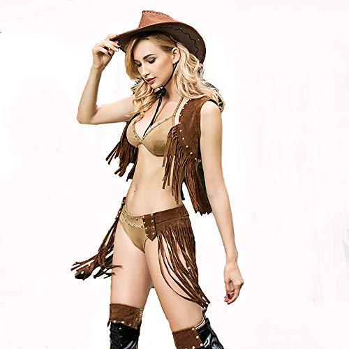 Cowgirl Set Kostüm - HJG Cowgirl-Hottie-Kostüm für Damen, Wild-Western-Verführerin der Roma-Kostüme, Halloween-Rollenspiel-Clubwear