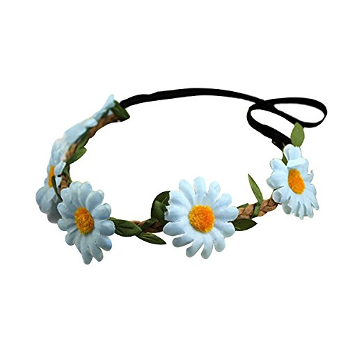 Bandeau-SODIAL(R) Femmes Style Boho Floral Fleur Bande de cheveux Bandeau pour Mariage Partie Festival (Bleu Clair)