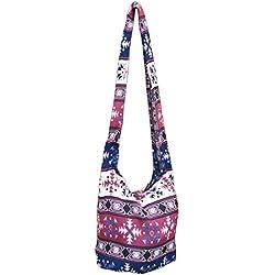 Panasiam hombro bolsa tejida, Designs fija de algodón, de gran calidad, con doble bolsa de tela, grande & pequeño espacio, Bordeauxton 52