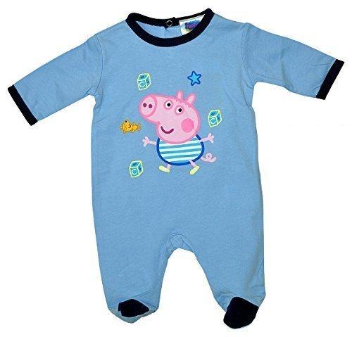 g GEORGE Pig All-in-One Baumwolle Strampelanzug größen von 1 bis 9 Monate - Himmelblau, 1 Month (George Pig Outfit)