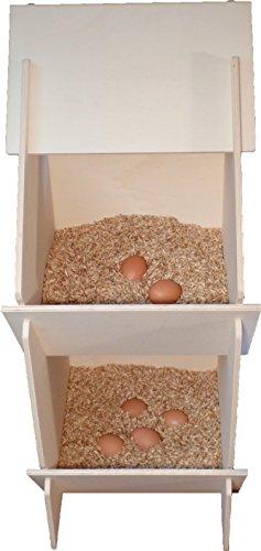 Hühner Legenest aus Holz, unmontiert, 30 x 35 x 83 cm inkl. Einstreu 6 Liter