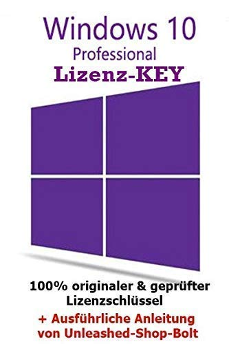 10 Pro Professional DOWNLOAD + LIZENZ KEY- E-Mail Versand - 32 / 64 Bit - Vollversion - Original Lizenzschlüssel - 1 Aktivierung / 1 PC + Anleitung von U-S-B Unleashed-Shop-Bolt® ()